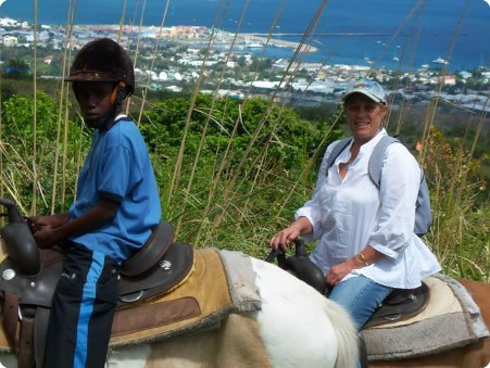 Above Basseterre, St Kitts with my friend Anthea's son