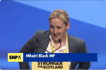 Mhairi Black, SNP MP for Paisley and Renfrewshire South at the 2015 SNP Conference in Aberdeen. Photograph: Kevin Walker.