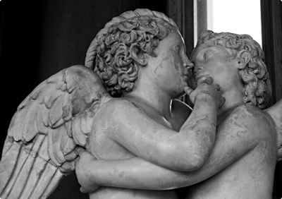 Eros and Psyche kissing