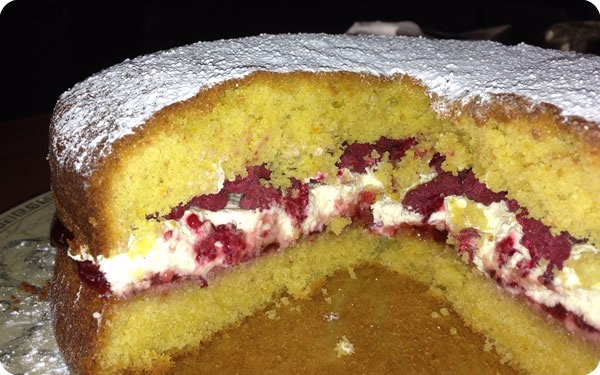 Anyone for cake? Victorian sandwich with fresh (Marshall's) raspberries and cream, made for my sister on her birthday.